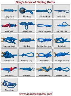 Visit www.animatedknots.com for Animated Knots by Grog to learn how to tie a kajillion kinds of knots (really!) and learn what they're use for. They even have a phone app if you're really serious about knots.