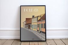 The old charm of Holbæk museum on your wall. The artist Madusen makes several cool retro posters of Holbæk and the nearby areas.