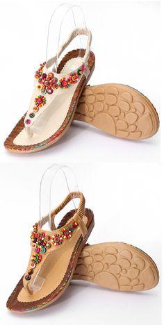 fb5558083d3f US 13.21 Bohemia Flowers Diamond Beads Shape Splice Flat Summer Sandals  Flat Sandals