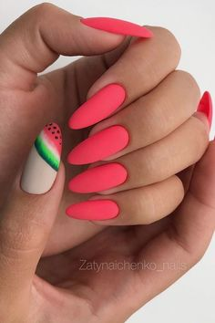pretty nails for summer \ pretty nails ; pretty nails for summer ; pretty nails for winter ; pretty nails for spring ; Watermelon Nail Designs, Watermelon Nails, Halloween Acrylic Nails, Best Acrylic Nails, Long Nails, My Nails, Matte Nails, Pointy Nails, Oval Nails
