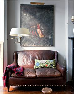Vintage leather settee with tartan, large scale art