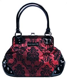 Rock Rebel's most popular style kisslock handbag is now available in beautiful deep-red merlot, This limited edition color will be a fabulous addition to your wardrobe that will never go out … Punk Jewelry, Gothic Jewelry, New Handbags, Purses And Handbags, Fashion Bags, Fashion Accessories, Gothic Accessories, Gothic Fashion, Cool Kids Clothes