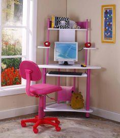 Pink Finish Corner Workstation Kids Children's Computer Desk & Chair