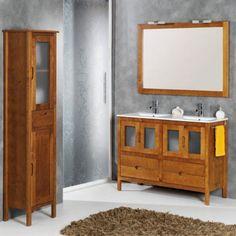 Mueble de baño rústico BRUSELAS con patas 120 cm teka con LAVABO DOBLE 9545 Vanity, Bathroom Vanity, Bathroom