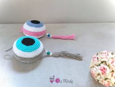 Evil Eyes Hanging, Crochet Evil Eyes for Boy and Girl, Baby Twins Decor, Twins Charm, Baby Shower Gift, Good Luck Gift, Island Style by Ouplexeis on Etsy Crochet Baby Beanie, Crochet Toddler, Crochet Girls, Baby Twins, Twin Babies, Baby Baby, Unicorn Hat, Crochet Unicorn, Good Luck Gifts