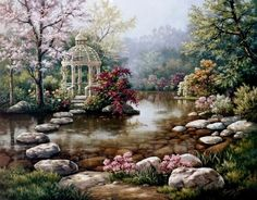 Create a sweet escape in any room or space with the Gazebo wall mural. Stepping stones in a reflecting pool lead to a white gazebo in this tranquil landscape. Rocks, flowers and blooming trees create a scene of peaceful beauty. Garden Painting, Oil Painting On Canvas, Diy Painting, Belle Image Nature, Diy Image, Image Link, Water Based Acrylic Paint, Paint By Number Kits, Tile Murals