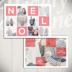 Christmas Card Template: Noel Squared A - 5x7 Holiday Card Template for Photographers