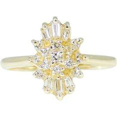 14k DIAMOND Cocktail Ring ESTATE Brilliant by PremierAntiquesNY