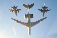 Two RAF Tornados F.1 refueling from a RAF VC-10 tanker.