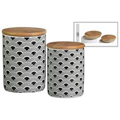 Urban Trends Collection UTC42807: Ceramic Cylindrical 36 oz. and 28 oz. Canister with Printed Wave Lattice Design Set of Two Coated Finish White