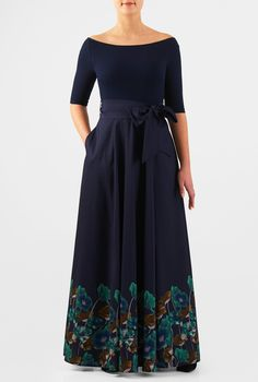 i'd get it with a sweetheart neckline, or a scoop. So gorgeous! A vintage silhouette goes modern with our mixed media maxi dress, styled with a wide boat-neck cotton knit bodice and a full flare polydupioni skirt with floral print at the hem. Beautiful Dresses, Nice Dresses, Summer Dresses, Church Dresses, Long Dresses, Dress Skirt, Shirt Dress, Womens Maxi Skirts, Fashion Outfits