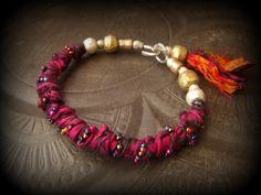 Sari Silk, African Brass, Ethiopian Beads, Glass, Banjara, Bangle,Tassel, Charms by YuccaBloom on Etsy