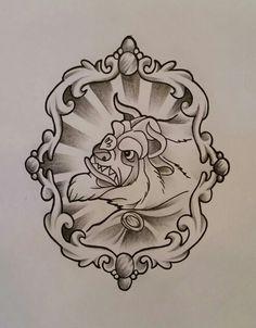 Beast tattoo design. Disney tattoo design
