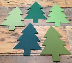 TREE Cardstock Christmas Shape 25 VARIETY PACK 5 each of 5 colors QUALITY