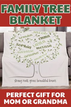 Family tree blanket Family tree blanket - Personalize this soft and cozy blanket with up to 25 names. Perfect Christmas gift for Mom Grandma or the whole family. Best Grandma Christmas Gifts, Perfect Christmas Gifts, Personalised Family Tree, Personalised Blankets, Gifts For Older Women, Present For Grandparents, Mom And Grandma, Perfect Gift For Mom, Top Gifts