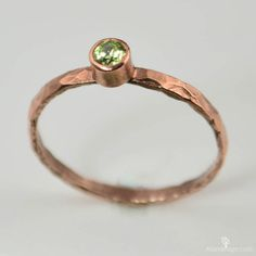 Copper Peridot Ring Classic SizeStackable Ring by Alaridesign Peridot Jewelry, Gemstone Jewelry, Mother Rings, Love Ring, Stackable Rings, Anniversary Rings, Copper Jewelry, Bracelets For Men, Ring Designs