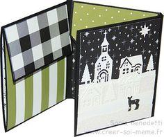 """Tuto: Mini album avec une feuille de 12""""x12"""" Album Photo Scrapbooking, Mini Albums Scrapbook, Diy Album Photo, Mini Album Scrap, Beautiful Handmade Cards, Album Book, Mini Books, Stampin Up, Christmas Cards"""