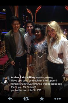 Harry, Darren and Becca supporting Amber during week 3!!  #Glee  #DWTS