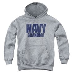Navy/Grandma Youth Pull-Over Hoodie in Heather Boy's