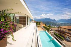 project House Lombardo 6 Massive White Silhouette Above Lake Lugano, Switzerland: House Lombardo