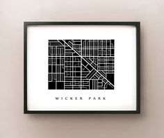 Wicker Park Map - Chicago Neighbourhood Art Print