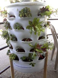 No yard, no problem! Combine your composting with your growing in this garden tower.
