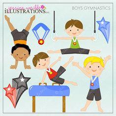 Boys Gymnastics Cute Digital Clipart for Card by JWIllustrations, $5.00