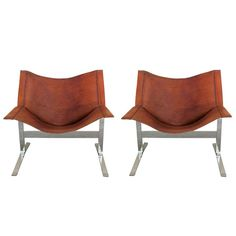 Pair of Clement Meadmore Saddle Leather  Sling Chairs | 1stdibs.com