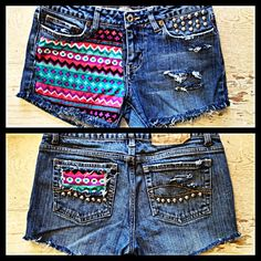 Aztec shorts studded DIY distressed tribal
