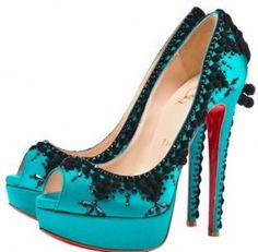 Teal - black lace