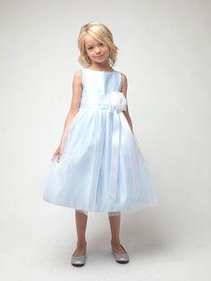 Ivory Satin Flower Girl Dress with Tulle skirt
