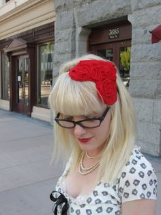 Delightful fascinator :)  Red Heart felt fascinator Made to order by RedDollyVintage on Etsy,