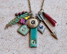 Personalized Initial Multi Charm Necklace 4 initials di JillMakes, $40.00