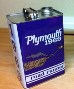 Vintage Style 1969 Plymouth Roadrunner Mopar Gallon Decorative Gas Can with Spout Plum