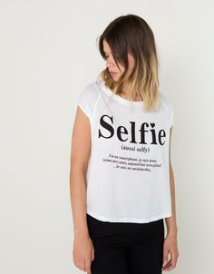 Bershka Ukraine - BSK combined fabric message T-shirt