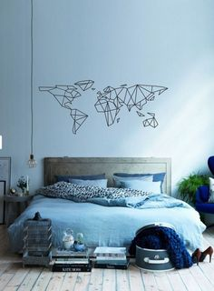 Science Art – Geometric World Map vinyl wall decal sticker – removable vinyl wall decor for office, classroom, playroom minimal decor - All About Decoration Home Bedroom, Bedroom Wall, Bedroom Decor, Decor Room, Master Bedroom, Bedrooms, Minimal Decor, My New Room, Decoration