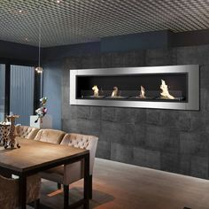 Find out if a modern electric fireplace is better for you than a bio ethanol fireplace insert. Find the ideal fireplace for your home. Modern Electric Fireplace, Modern Fireplace, Fireplace Wall, Fireplace Design, Wall Fireplaces, Contemporary Fireplaces, Fireplace Pictures, Electric Fireplaces, Modern Kitchens