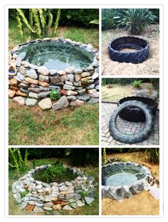 Laghetto artificiale da pneumatico Backyard Water Feature, Ponds Backyard, Backyard Landscaping, Tire Pond, Garden Pond Design, Pond Fountains, Pinterest Garden, Diy Garden Projects, Small Gardens