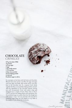 chocolate crinkles food cookies chocolate desert recipe recipes ingredients instructions desert recipes cookie Omg my grandmother makes these and they're fantastic! Chocolate Crinkle Cookies, Chocolate Crinkles, Call Me Cupcake, Cookies Et Biscuits, Desert Recipes, Just Desserts, Cookie Decorating, Chocolates, Food Inspiration