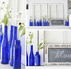 7 spring blogger projects we love, including this beautiful mantel with cobalt bottles by Kelly Rinzema (thelilypadcottage.com): http://www.midwestliving.com/blog/life/7-spring-blogger-projects-we-love/