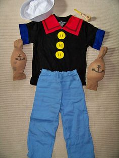 Handmade homemade Popeye Halloween costume boys 6X/7