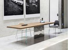 Tavolo wood ~ Tavolo in legno o vetro shangai small tavolo con base in alluminio