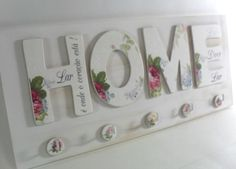 Decoupage shabby chic 'HOME' sign, home decor Wood Crafts, Diy And Crafts, Arts And Crafts, Paper Crafts, Decoupage Art, Decoupage Vintage, Manualidades Shabby Chic, Craft Projects, Projects To Try