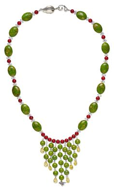 Jewelry Design - Single-Strand Necklace with Mosaic ''Turquoise'' Gemstone Beads, Riverstone Gemstone Beads, Cubic Zirconia Drops and Swarovski Crystal Beads - Fire Mountain Gems and Beads