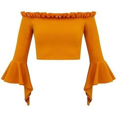 Mustard Bardot Frill Edge Flare Sleeve Crop Top ❤ liked on Polyvore featuring tops, shirts, crop top, orange, crop, mustard yellow crop top, bell sleeve tops, ruffle shirt, mustard crop top and orange shirt