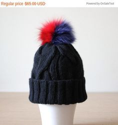Pom pom hat Fur pom pom beanie Black beanie by HatsAndOtherStories