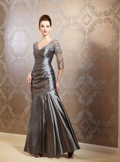 Mirella's Ladies Boutique ~ lace and lux taffeta gown K158006