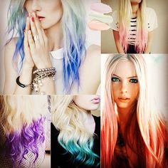 2014 Dip Dye Hair Colors Pastel Dip Dye with support of vpfashion extensions No Dye and no hurt to your own hair!