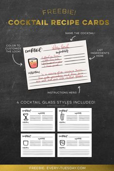 Freebie: Cocktail Recipe Cards Pick up this free set of cocktail recipe cards with space for ingredients and instructions, plus four different cocktail glass styles to choose from! Recipe Index Card Template, Recipe Book Templates, Printable Recipe Cards, Cocktail Book, Cocktail Glass, Cocktail Menu, Recipe For Teens, Coctails Recipes, Recipe Organization