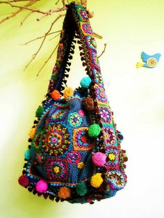 Ideas For Crochet Purse Hippie Granny Squares Love Crochet, Crochet Granny, Knit Crochet, Hippie Bags, Boho Bags, Crochet Handbags, Crochet Purses, Sac Granny Square, Granny Squares